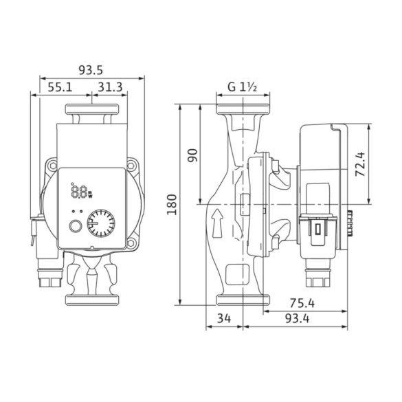 WILO Yonos PICO 25/1-4 fűtési keringető szivattyú méretek