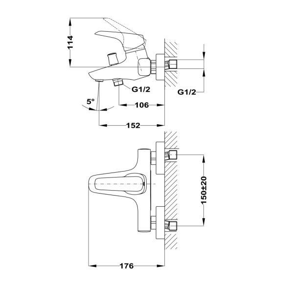 MOFÉM Flow kádtöltő csaptelep, zuhanyszettel - méretek