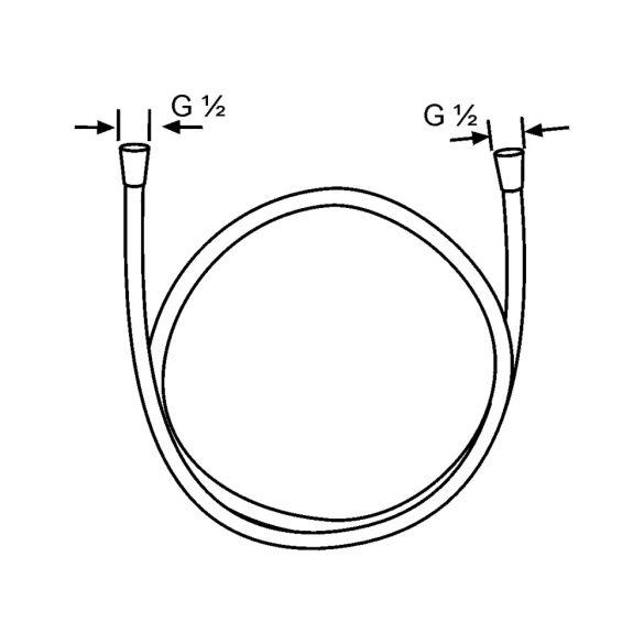 KLUDI Logoflex zuhanygégecső, külső műanyag réteggel, fémhatás, 160cm