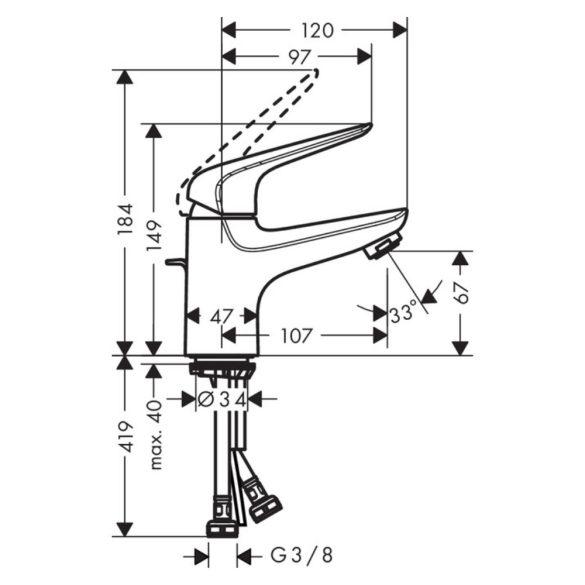 HANSGROHE Novus 70 mosdócsaptelep automata leeresztő szeleppel