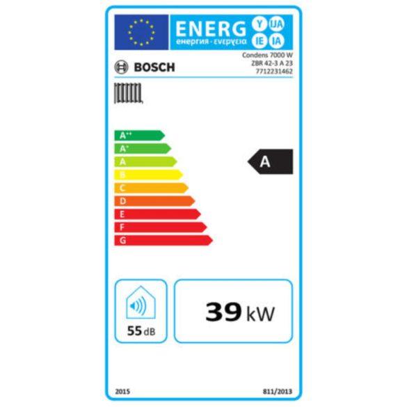 Energiacímke a BOSCH Condens 7000 W ZSBR 42-3 A kondenzációs fűtő (cirkó) gázkazánhoz