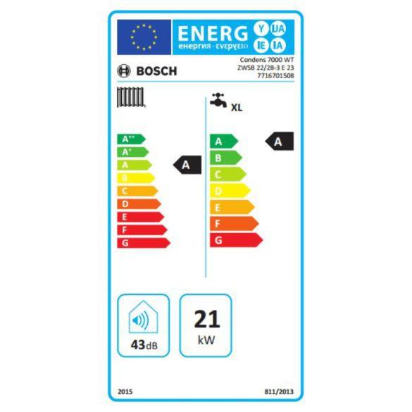 Energiacímke a BOSCH Condens 7000 WT ZWSB 22/28-3 E kondenzációs fali hőközponthoz