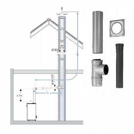 BOSCH AZB 616/1 koncentrikus vízszintes bekötő készlet kéménybe kötéshez PPs/alu 80/125 x 630 mm