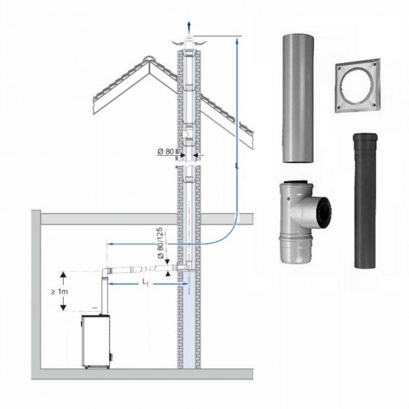 BOSCH AZB 616/1 koncentrikus vízszintes bekötő készlet kéménybe kötésihez PPs/alu 80/125x630mm