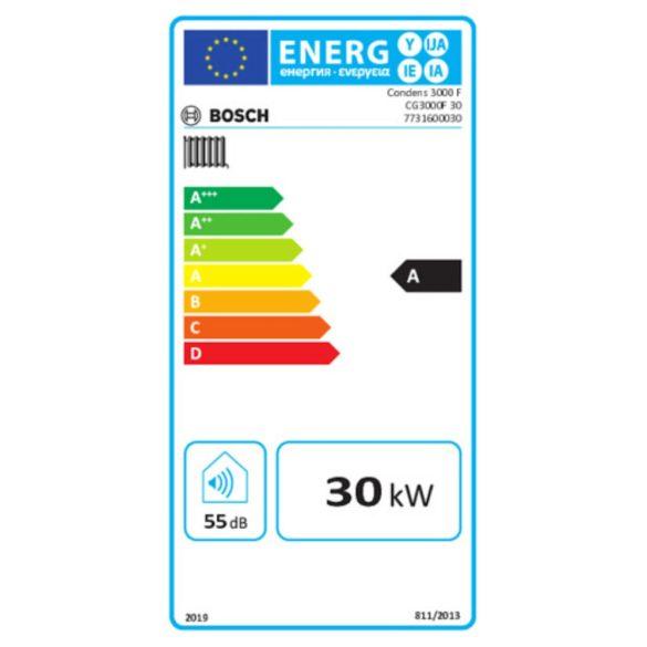 Energiacímke a BOSCH Condens 3000 F - 30 ERP kondenzációs álló fűtőkazánhoz
