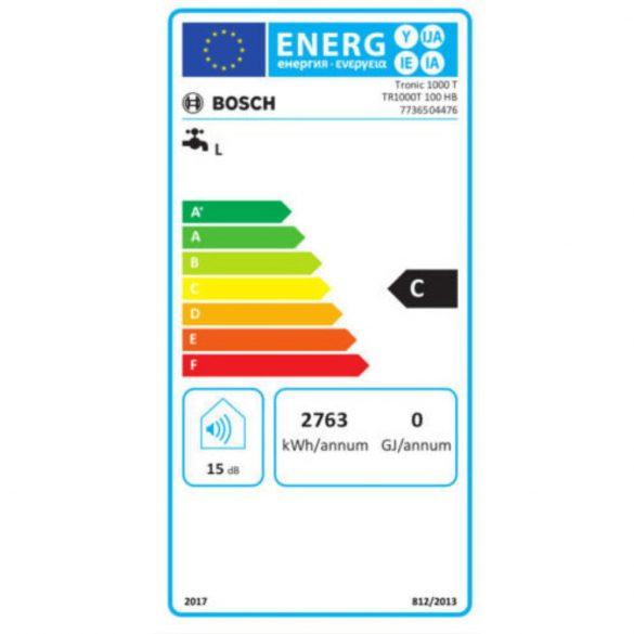Energiacímke a BOSCH Tronic 1000T ERP tárolós, vízszintes elhelyezésű, elektormos vízmelegítőhöz
