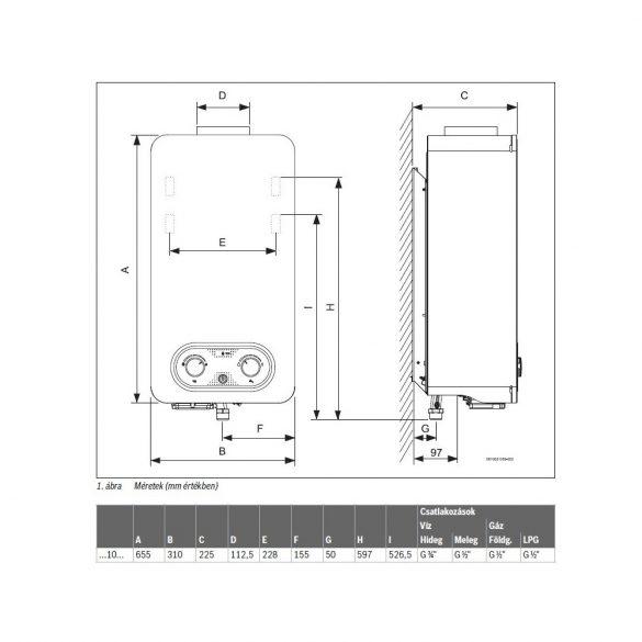 BOSCH Therm 4200 WR 10-4 KB átfolyós vízmelegítő, gázüzemű, kéményes, elemes, 10 l/p