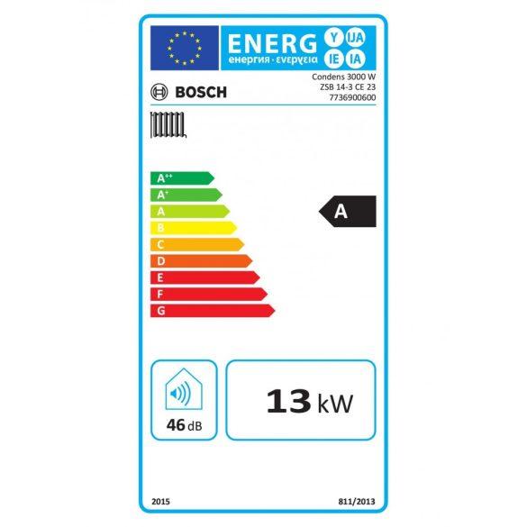 Energiacímke a BOSCH Condens 3000 W ZSB 14-3 CE 23 kondenzációs fűtő (cirkó) gázkazánhoz