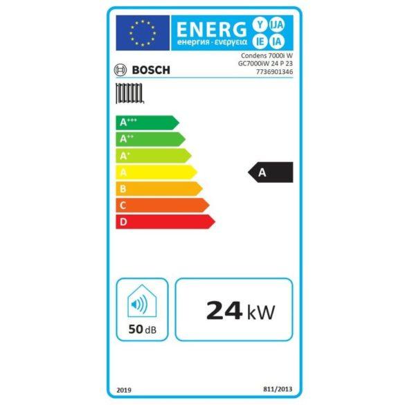 Energiacímke a BOSCH Condens GC7000iW 24 P 23 kondenzációs fűtő (cirkó) gázkazánhoz