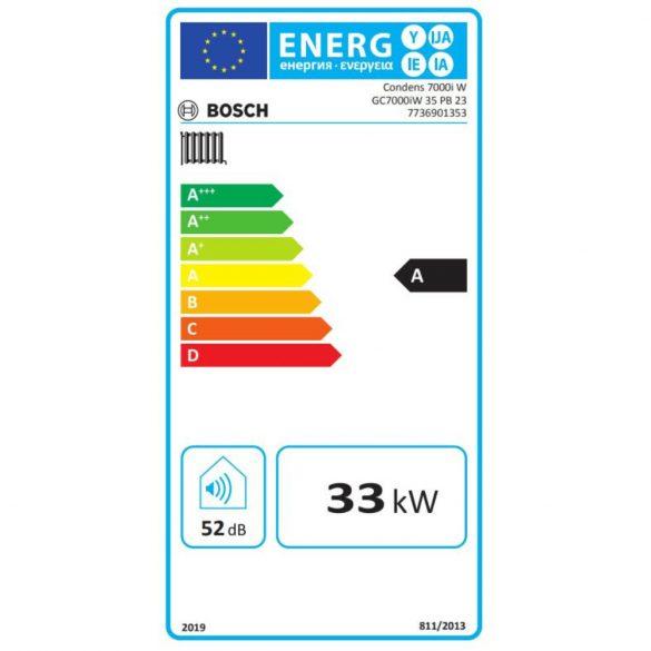 Energiacímke a BOSCH Condens GC7000iW 35 PB 23 kondenzációs fűtő (cirkó) gázkazánhoz