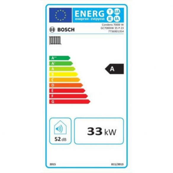 Energiacímke a BOSCH Condens GC7000iW 35 P 23 kondenzációs fűtő (cirkó) gázkazánhoz