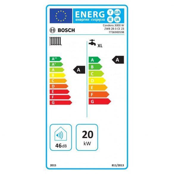Energiacímke a BOSCH Condens 3000 W ZWB 28-3 CE 23 kondenzációs kombi (cirkó) gázkazánhoz