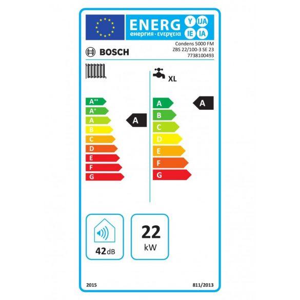 Energiacímke a BOSCH Condens 5000 FM ZBS 22/100-3 SE 23 kondenzációs álló hőközponthoz
