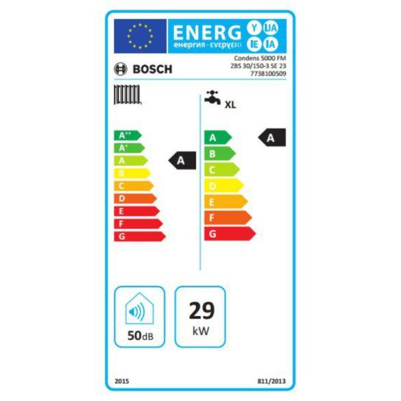 Energiacímke a BOSCH Condens 5000 ZBS 30/150-3 SE 23 kondenzációs álló hőközponthoz