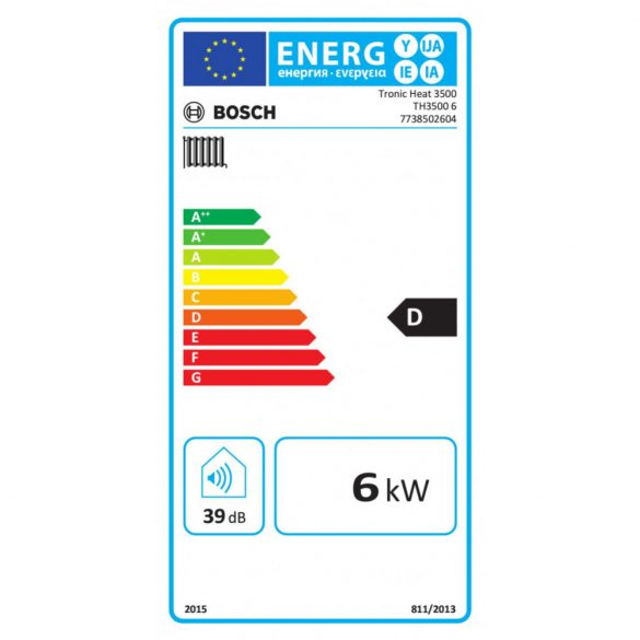 Energiacímke a BOSCH Tronic Heat 3500 6kW-os elektromos fali fűtőkazánhoz