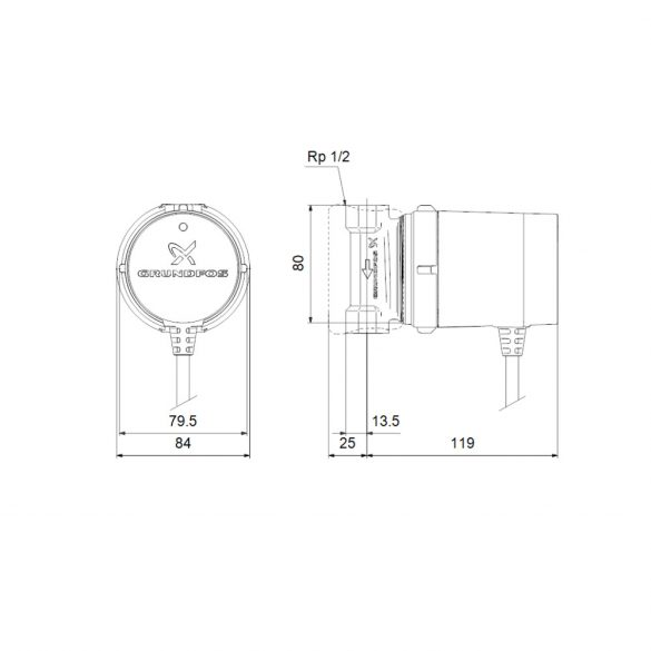 "GRUNDFOS Comfort UP 15-14 B PM HMV keringető szivattyú, 80mm, 1/2"", 230V"