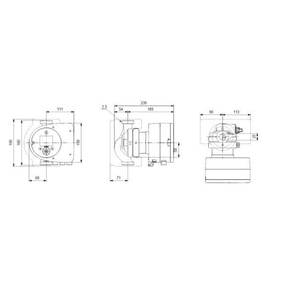 """GRUNDFOS Magna3 25-80 180 keringető szivattyú, 180mm, 6/4"""", 230V"""