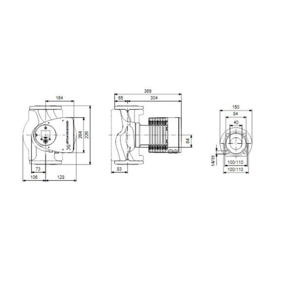GRUNDFOS Magna3 40-80 F 220 keringető szivattyú, karimás, 220mm, DN40, 230V
