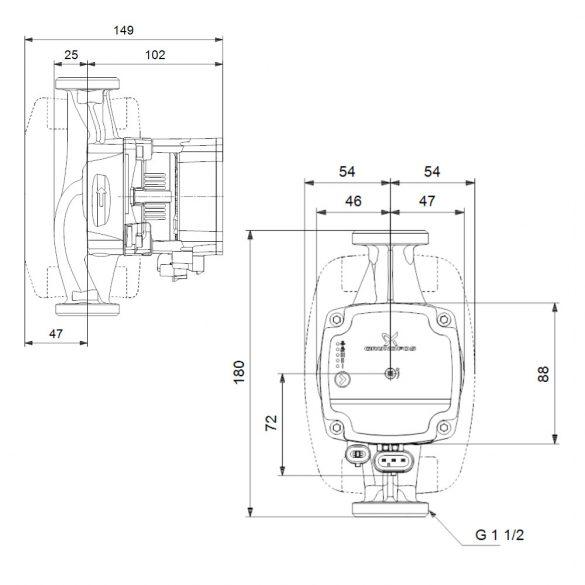 GRUNDFOS Alpha 1 L 25-40 180 fűtési keringető szivattyú méretek