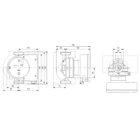 GRUNDFOS Magna1 25-80 180 keringető szivattyú, 180mm, PN10, 230V