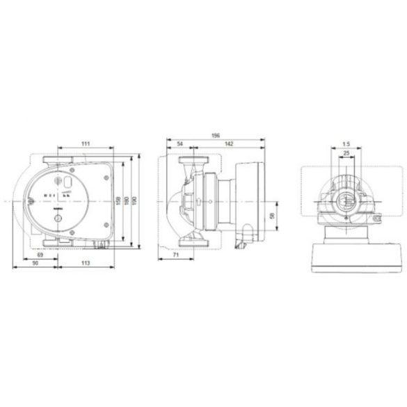 GRUNDFOS Magna1 25-40 180 keringető szivattyú, 180mm, PN10, 230V
