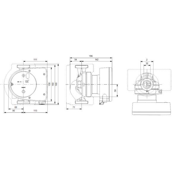 """GRUNDFOS Magna1 32-100 180 keringető szivattyú, 180mm, 2"""", 230V"""