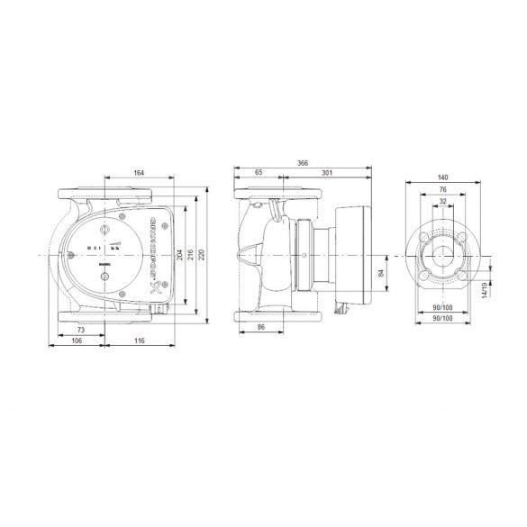 GRUNDFOS Magna1 32-120 F 220 keringető szivattyú, karimás, 220mm, DN32, 230V