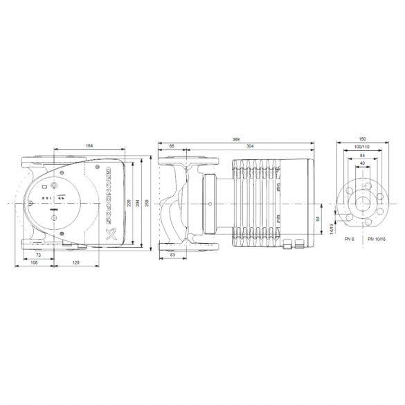 GRUNDFOS Magna1 40-120 F 250 keringető szivattyú, karimás, 250mm, DN40, 230V