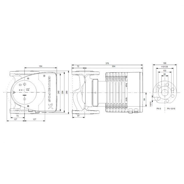GRUNDFOS Magna1 50-120 F 280 keringető szivattyú, karimás, 280mm, DN50, 230V