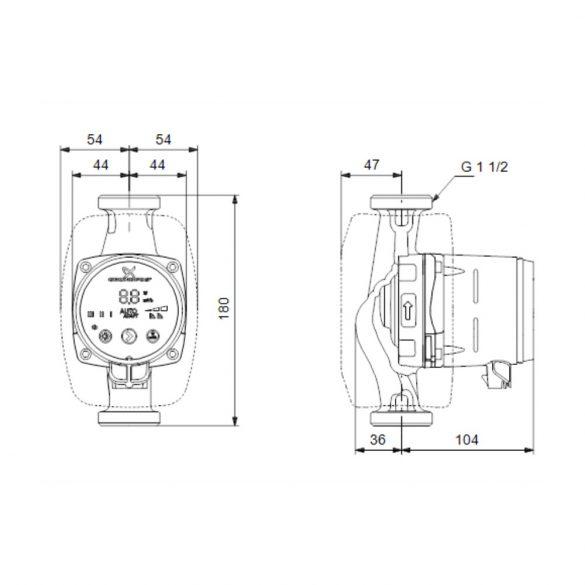 """GRUNDFOS Alpha2 25-60 180 keringető szivattyú, 180mm, 6/4"""", 230V"""