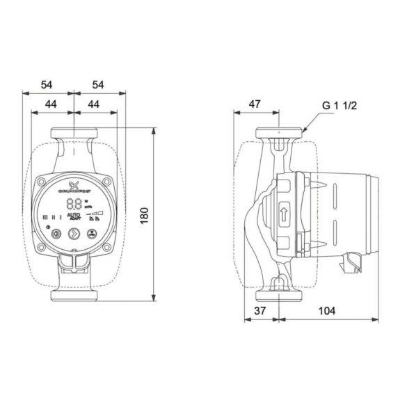 """GRUNDFOS Alpha2 25-60 N 180 HMV keringető szivattyú, 180mm, 6/4"""", 230V"""