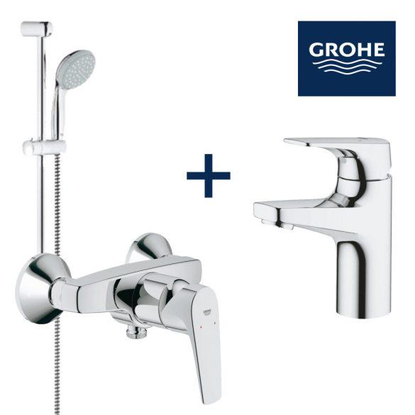 GROHE BauFlow mosdó+zuhany csaptelep csomag, New Tempesta II állítható zuhanyszettel