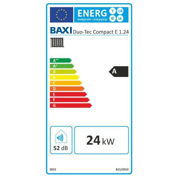 Energiacímke a BAXI Duo-Tec Compact E 1.24 kondenzációs fűtő (cirkó) gázkazánhoz