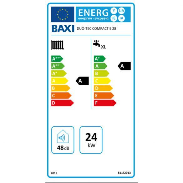 Energiacímke a BAXI Duo-Tec Compact E 28 ERP kondenzációs gázkazán