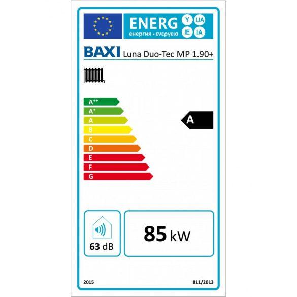 Energiacímke a BAXI Luna Duo-Tec MP 1.90+ kondenzációs fűtő (cirkó) gázkazánhoz