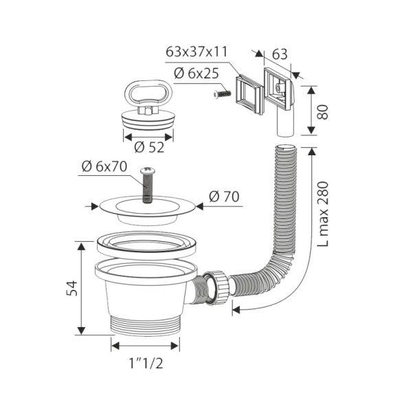 """FixTrend mosogató leeresztőszelep szögletes túlfolyóval, 6/4""""x70mm"""