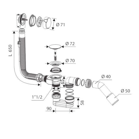 FixTrend automata kádleeresztő túlfolyóval, D70, 55cmx40/50mm