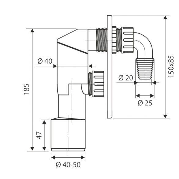 FixTrend mosógép faliszifon króm előlappal, tisztítható, NA50