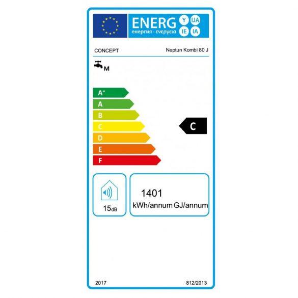 CONCEPT Neptun kombi 80 literes villanybojler, ERP tárolós elektromos vízmelegítő energiacímke