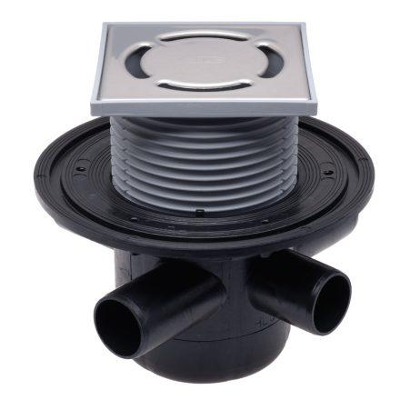 HL 304 padlószifon DN50 vízsz.kimenet, 3db DN50 bemenet, 123x123/115x115