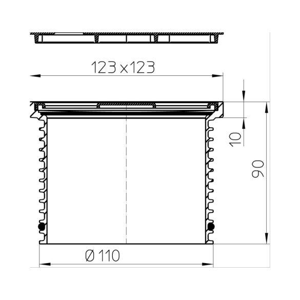HL 37N rácstartó, 110mm cső/123x123mm műanyag keret, 115x115mm inox rács