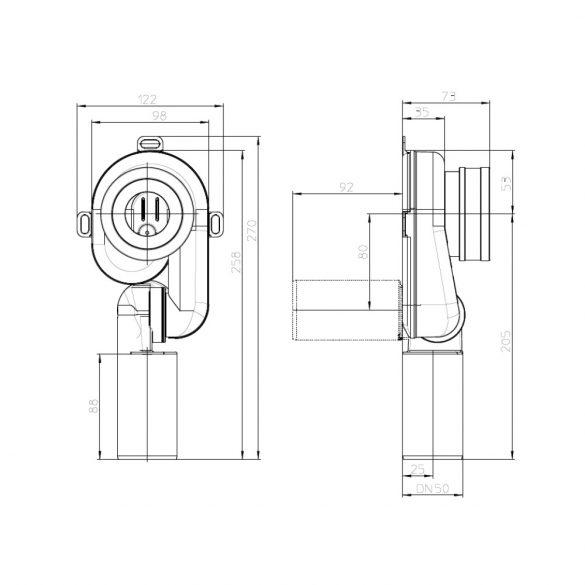 HL 430/50 vizeldeszifon, 0-90°-ban állítható kimenet, 50mm