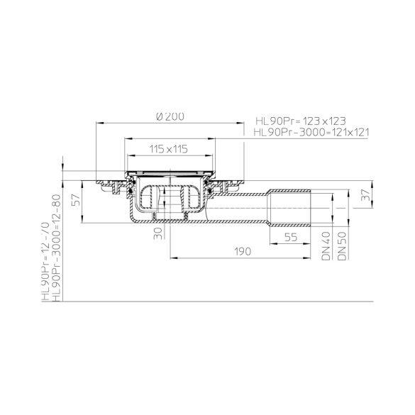 HL 90Pr padlóösszefolyó, DN40/50, 115x115mm ráccsal