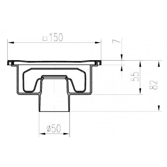 FixTrend padlóösszefolyó, száraz bűzzár, alsó kifolyású, DN50, 150x150mm