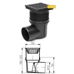 FixTrend kültéri összefolyó, oldal kifolyású, műanyag fedlappal, DN110