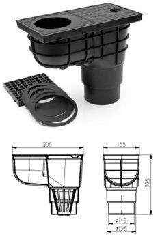 FixTrend ereszbekötő, sülly.,lombfogó kosárral,alsó kifolyású,fekete,DN110/125