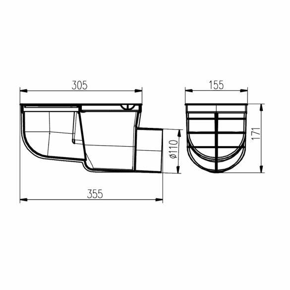 FixTrend univerzális ereszbekötő, műanyag, rács nlk,oldal kifolyású,szürke,DN110