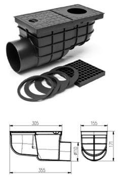 FixTrend ereszbekötő, sülly.,lombfogó kosár,műa.,oldalsó kifolyású,fekete,DN110