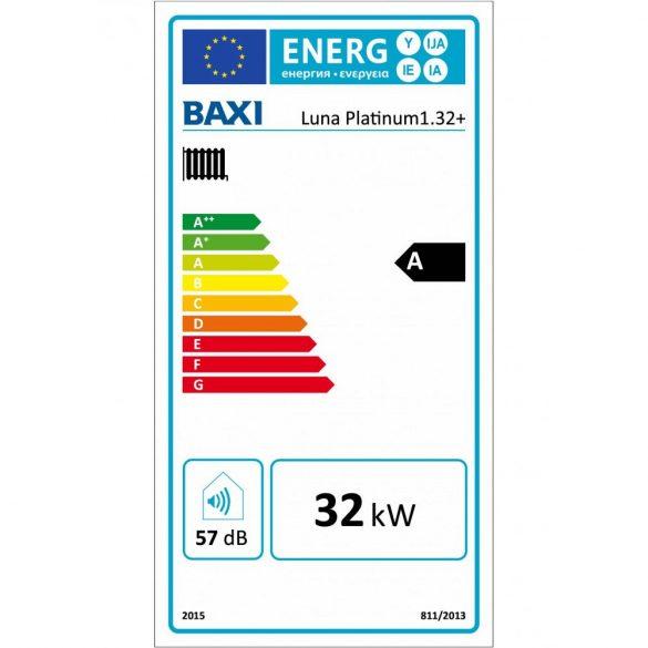 Energiacímke a BAXI Luna Platinum 1.32+ kondenzációs fűtő (cirkó) gázkazánhoz