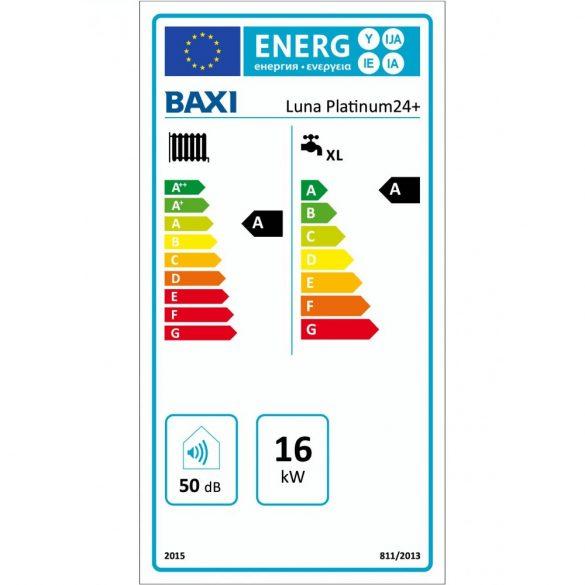 Energiacímke a BAXI Luna Platinum 24+ kondenzációs kombi (cirkó) gázkazánhoz